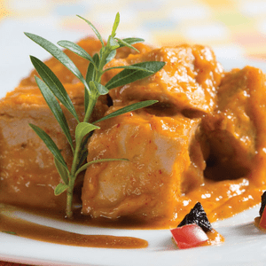 Cerdo con salsa de mango