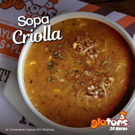 La sopa criolla de glotons no podía faltar en esta lista. ¡Provecho!