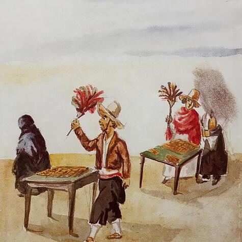 Acuarela de turroneros del siglo XIX, retratados por el pintor costumbrista Pancho Fierro (1809-1879).
