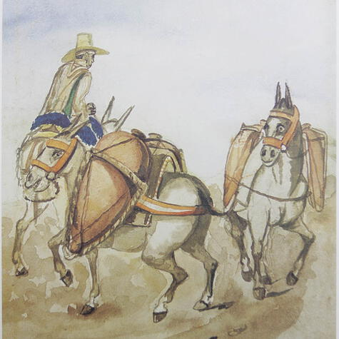 Acuarela de Pancho Fierro representando a un comerciante que transporta el aguardiente traído desde Ica en las tradicionales botijas pisqueras de arcilla.