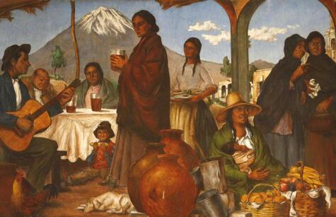 Detalle de El campo. La ciudad (1946): mural de Teodoro Núñez Ureta que retrata el ambiente de las picanterías.
