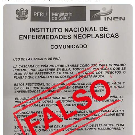 Tweet del INEN desmintiendo la información sobre la cáscara de piña.</div>