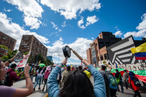 Manifestación en Colombia en 2019. Las cacerolas se hicieron sentir en contra del gobierno de Iván Duque.