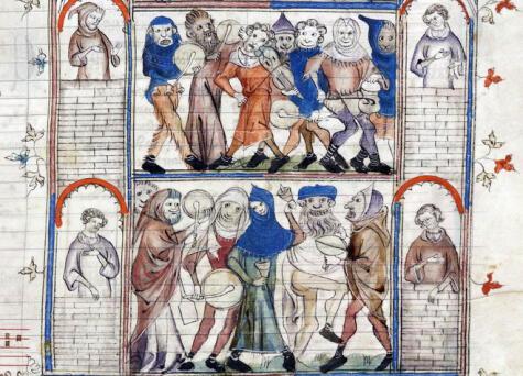 Ilustración del charivari, una especie de desfile ruidoso del siglo XIV que ya incluía ollas y sartenes.