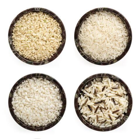 Tipos de arroz: el de la esquina superior derecha es el tipo de arroz que usamos para que quede graneadito.
