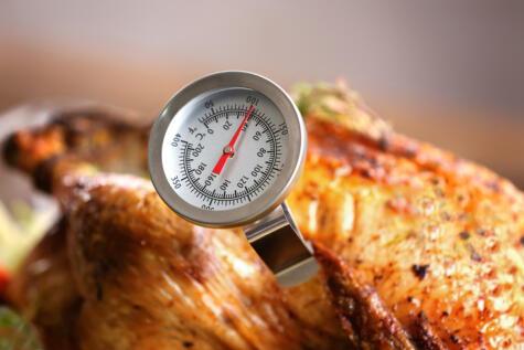 El termómetro es muy útil, porque evita tener que estar pinchando el pavo para saber si ya está listo.