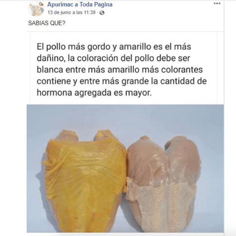Noticia falsa el pollo que se hizo viral en redes sociales; pero posteriormente desmentida.