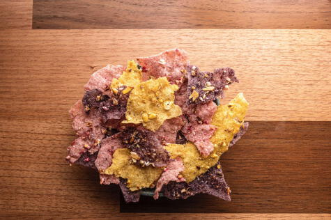 Texturas de Maíz: un plato servido en el menú degustación de MIL en el 2020. <strong>Foto: Gustavo Vivanco.</strong>