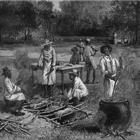 La barbacoa era la técnica de cocción de los indios americanos que consistía en madera verde sobre brasas.