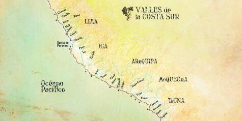El pisco se produce solo en la costa sur peruana.